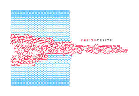 Vector illustration for science, chemistry or education. Irregular array or matrix of random ovals.