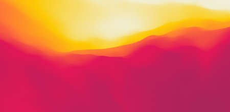 Desert dunes sunset landscape. Mountain landscape with a dawn. Mountainous terrain. Hills silhouette. Abstract background. Vector illustration.