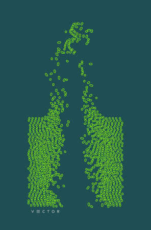 Irregular array or matrix of random ovals. Background breaking down into small fragments.