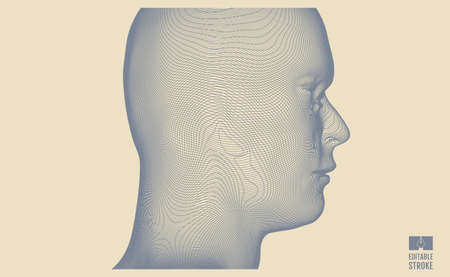 3d human face created in grid style. Artificial intelligence concept.