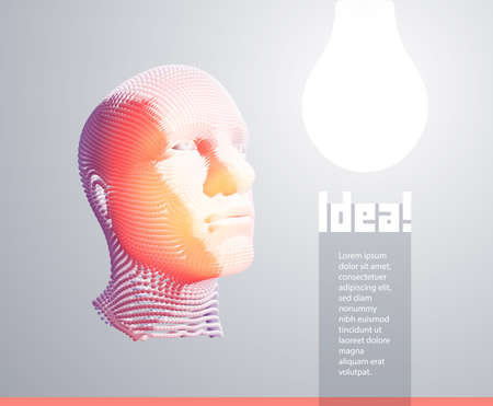 Thinking man looking up with light idea lighbulb above head. Success, leadership, achievement, idea and goal concept. Artificial intelligence. Technology and engineering vector illustration.