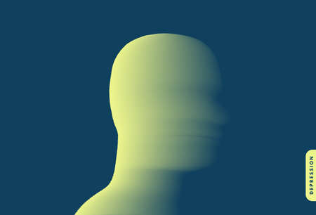 Depression. Psychology or philosophy concept. Abstract human head silhouette with color gradient. Vector illustration.