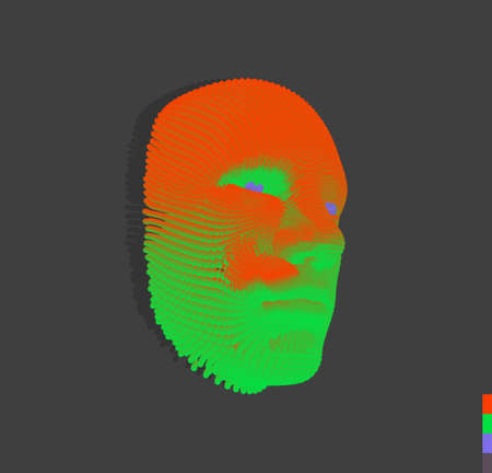 The mask. Artificial intelligence. Anonymous social masking. Face scanning. Can be used for avatar, science or technology. Cyber crime and cyber security concept illustration. Vector.