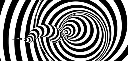 Pattern with optical illusion. Black and white design. Abstract striped background. Vector illustration. Vettoriali