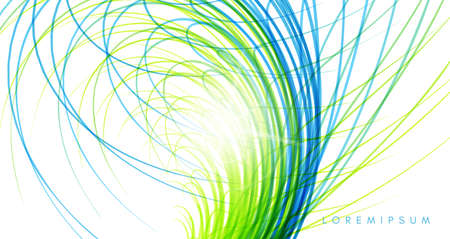 Grass. Curved lines with perspective effect. Optical fiber. 3d abstract background. Vector illustration.