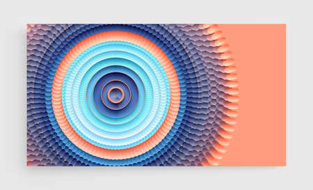 Abstract circular pattern made of color spheres and ellipses. Vector art illustration. Dynamic effect. Cover design template. Can be used for advertising, marketing or presentation. Иллюстрация