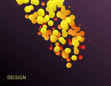 Many flying spheres of different sizes in empty space. Abstract background. 3d vector illustration.