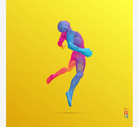 Jumping man. Man floating and hovering in the Air. 3d vector illustration. Vektorové ilustrace