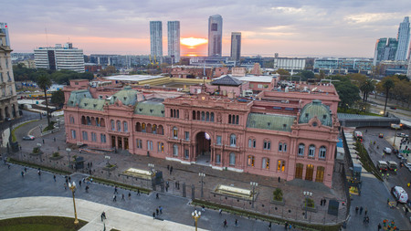 Pink house is the official seat of the executive branch of the government of Argentina. Buenos Aires - Argentina.