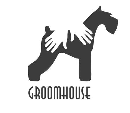 Logo of a groomhose. Dog's silhouette with human palms