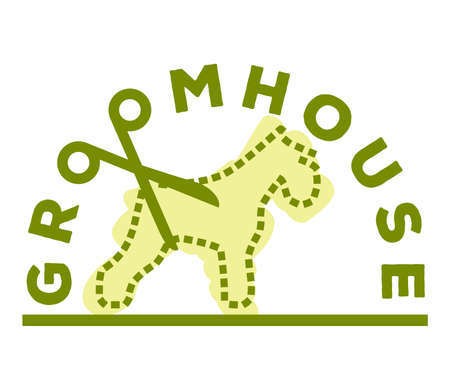 Logo of a groomhose dog's silhouette made of dotted line 向量圖像