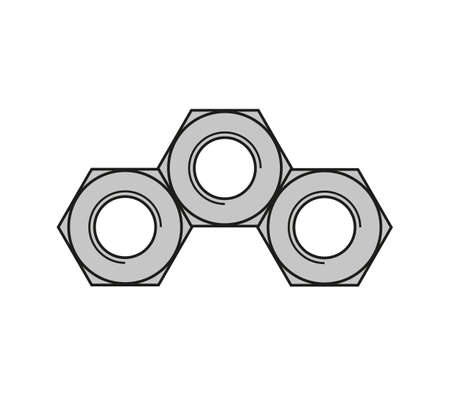 Three steel nuts on bolts touching each other.