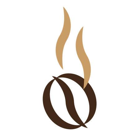 Brown coffee bean. Bar cafe logo. Ilustracja