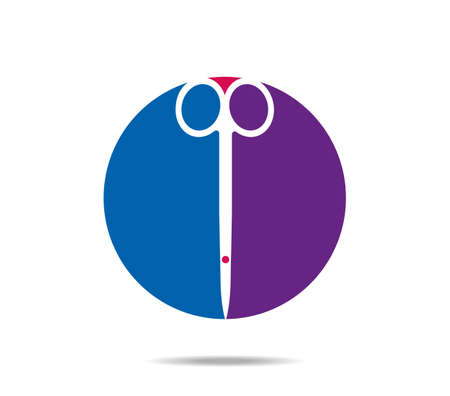 Surgical scissors on blue and violet round background Vectores