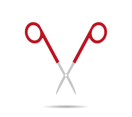 Surgical red scissors. Open logo Vectores