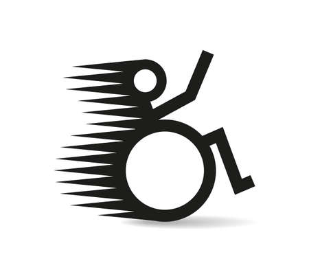 Disabled man in a speedy wheelchair. Disability sign