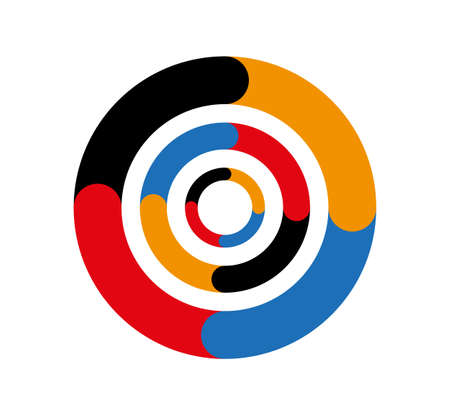 Concentric colored circles. Target sign or colorful lifebuoy