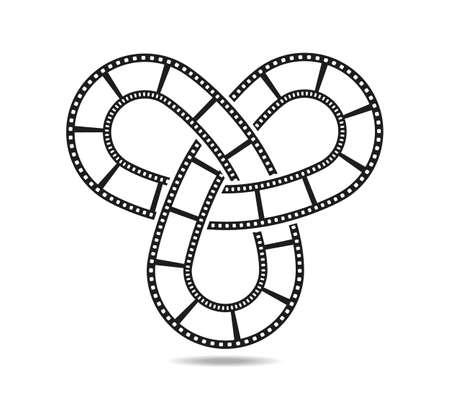 Mobius loop with three elements made of filmstrip. Film reel Vecteurs