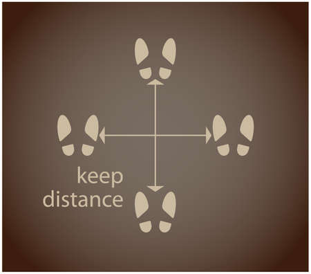 Social distance. COVID-19 keep your distance. Footprints on brown background