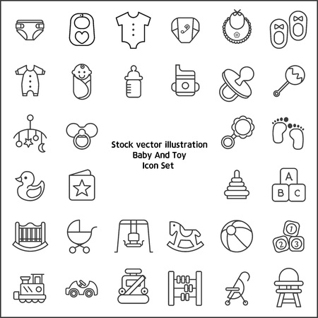 baby and toy icon set