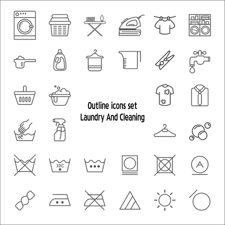 Simple Set of Laundry Related Line Icons. Vector Illustratie