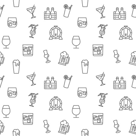 Drink icons seamless pattern gray vector on white background. Collection of beer, wine, bottle, cocktail, oak barrel. Template for design fabric, backgrounds, wrapping paper.