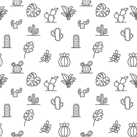 Plant icons seamless pattern gray vector on white background. Collection of cactus, cacti, monstera, bough, leaf. Template for design fabric, backgrounds, wrapping paper. Standard-Bild - 125415148