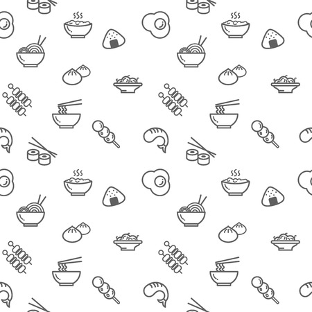 Food icons seamless pattern gray on white background. Collection of ramen, rice, dumpling, dim sum, fried egg. Template for design fabric, backgrounds, wrapping paper.