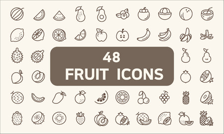 Set of 48 fruits and vegetarian food Icons line style. Contains such Icons as pineapple, orange, lemon, melon, pomegranate, peach, strawberry, kiwi fruit and other Elements.