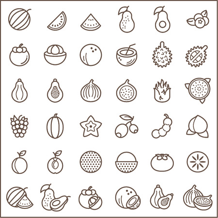 Set of fruits and vegetables icons Icons line style. Contains such Icons as fig, papaya, coconut, mangosteen, avocado, peach, watermelon, lychee And Other Elements. Illustration