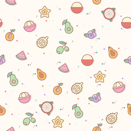 colorful fruit seamless pattern. Collection of durian, lychee, avocado, mangosteen, plum. Template for design fabric, backgrounds, wrapping paper. Illustration