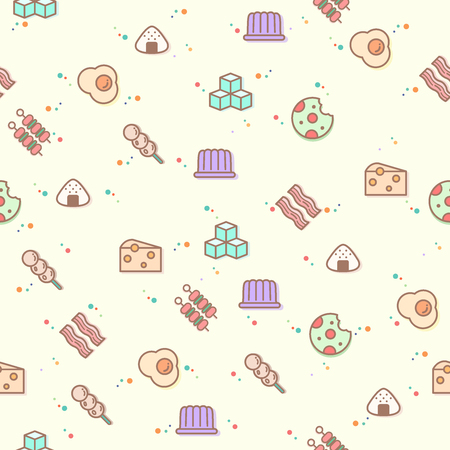colorful food seamless pattern. Collection of cookies, cube sugar, lump, fried eggs, pudding. Template for design fabric, backgrounds, wrapping paper.