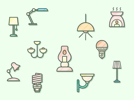Vector illustration of a lighting and illumination elements. Contains such as lamp, light, candle, chandelier and more. Flat illustration style line drawing and background color green.