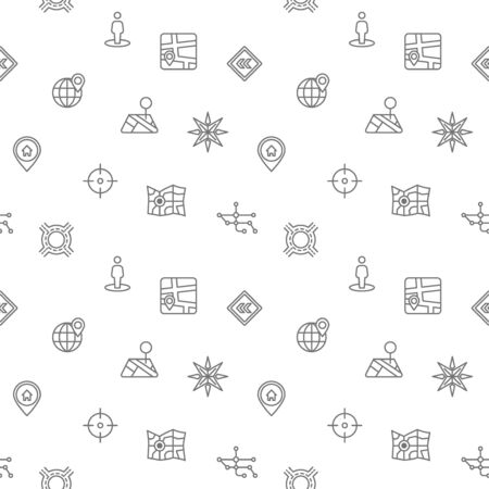 Seamless pattern with map and navigation icon on white background. Included the icons as direction, road, gps navigation, direction sign, arrow And Other Elements. Illustration