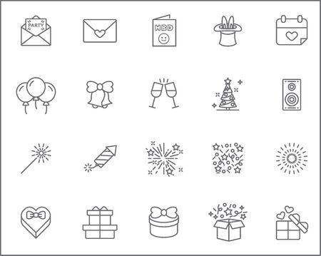 Set of party and celebration Icons line style. Included the icons as balloons, birthday, music, firework, gift, decoration and more. customize color, stroke width control, easy resize. Векторная Иллюстрация