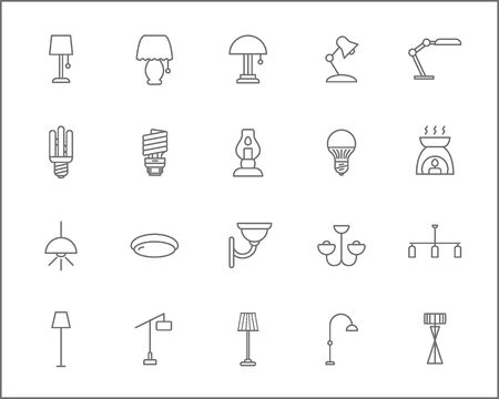 Set of lighting and interior Icons line style. Included the icons as illumination, floor lamp, candle, wall lamp, home decoration, chandelier, lights and more. Ilustração