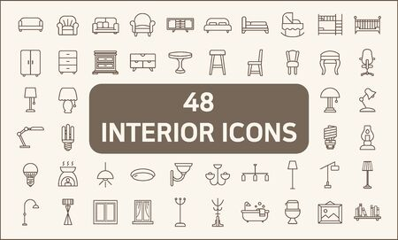 Set of 48 interior and lighting line style. Contains such Icons as illumination, floor lamp, candle, home decoration, chandelier, lights, furniture, bed, chair and more.