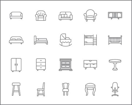 Set of furniture and interior Icons line style. Included the icons as bed, sofa, couch, table, a double-deck bed, chair, stool, wardrobe and more.