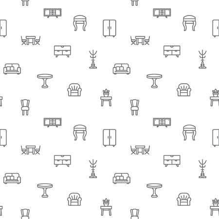 Simple Set of interior and furniture seamless pattern gray vector on white background.Contains such Icons as sofa, chair, table, clothes rack, wardrobe and more. Modern style line drawing.