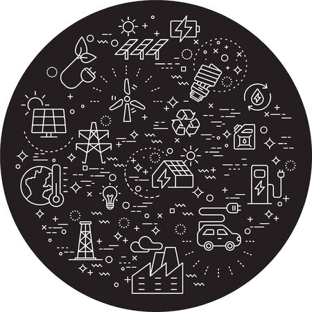Simple Set of energy and ecology Related Vector Line Illustration.Contains such Icons as battery, solar power, oil and more. Modern style line drawing and background color black.