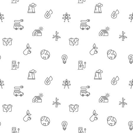 Seamless pattern energy and ecology icon on white background.Included the icons as solar panels, bulb, green energy, wind turbine, battery And Other Elements Vettoriali
