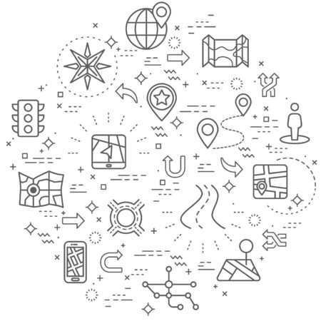 Simple Set of map and navigation Related Vector Line Illustration.Contains such Icons as traffic light, direction, road, bookmark, and more. Modern style line drawing and background color white.