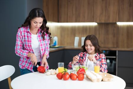 young beautiful woman and her cute daughter cooking breakfast in the kitchen