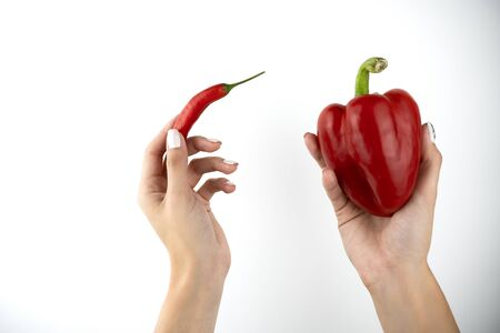 image of woman's hands holding red fresh chilly pepper in one hand and sweet red pepper in another on isolated white background. 免版税图像