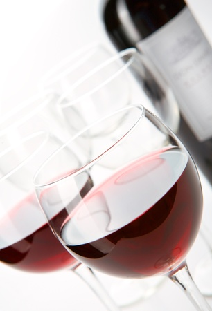 Two glasses and bottle of wine Stock Photo - 13218716