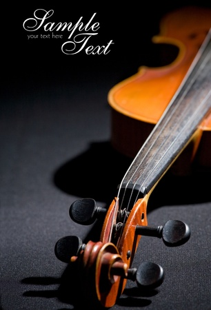 Old violin  Space for text isolated on black  Stock Photo