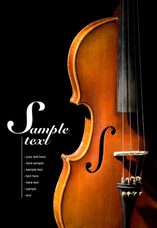 strings: Violin on black background  Space for text on solid black Stock Photo