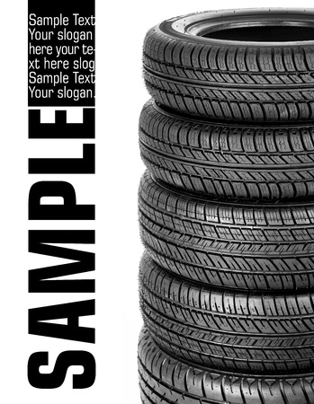 tyre tread: Tires stacked up and isolated on white background