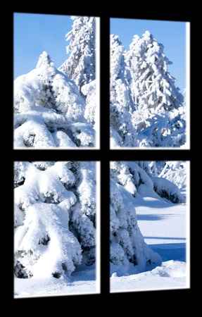 Window view on winter landscape