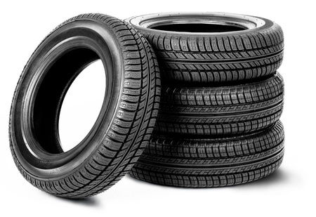 Four tires on the white background photo